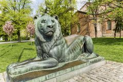 Lion sculpture in Sofia,Bulgaria. Big lion statue in front of the saint Sofia church in the spring royalty free stock image