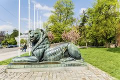 Lion sculpture in Sofia,Bulgaria. Big lion statue in front of the saint Sofia church in the spring royalty free stock images