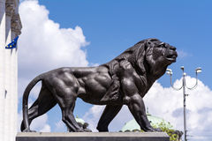 Big Lion statue in Sofia. Bulgaria - famous Palace of Justice courthouse building stock image