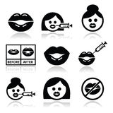Big lips, lip augmentation icons - beauty concept Stock Photography