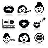 Big lips, lip augmentation icons - beauty concept Stock Photography