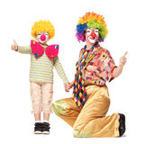Big and little funny clowns Stock Photos