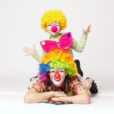Big and little funny clowns Royalty Free Stock Photos