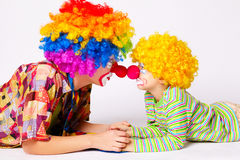 Big and little funny clowns Stock Photography