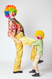 Big and little funny clowns Stock Image
