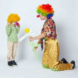 Big and little funny clowns photo Royalty Free Stock Photo