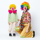 Big and little funny clowns photo Royalty Free Stock Photography
