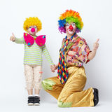 Big and little funny clowns photo Royalty Free Stock Photos
