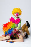 Big and little funny clowns photo Stock Image