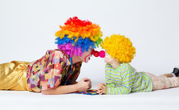 Big and little funny clowns photo Royalty Free Stock Images
