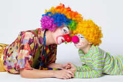 Big and little funny clowns photo Royalty Free Stock Image
