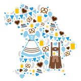 Oktoberfest Icons Forming Silhouette Of Bavaria Blue vector illustration