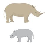 Big and little rhino Stock Photo
