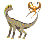 Big and little winged dinosaur Royalty Free Stock Photo