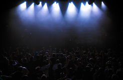 Big Live Music Concert and with Crowd and Lights Stock Photos