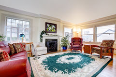Big living room with fireplace Stock Image