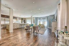 Big livingroom with bright pot lights royalty free stock photo