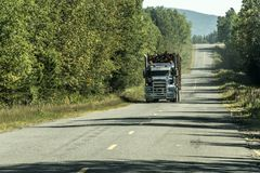 Big Logging truck moving highway wood from harvest field plant Canada ontario quebec. Big Logging truck moving on highway wood from harvest field plant Canada stock photography