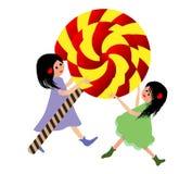 Big Lollipop. Little girls with sweet lollipop vector illustration