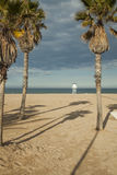 Big long shot of a lifeguard post in the beach. Royalty Free Stock Photos