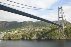 Big long suspension bridge in Bergen royalty free stock photo