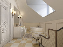 Big louge chair in the bathroom in Provence style in the attic w Royalty Free Stock Photography