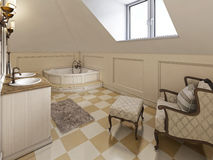 Big louge chair in the bathroom in Provence style in the attic w Royalty Free Stock Images
