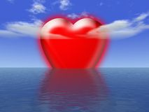 Big love. Some big heart in the sea Stock Photos
