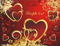 The big love. Hearts with a gold vegetative ornament and butterflies on a red background Royalty Free Stock Images