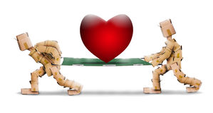 Big love heart on stretcher carried by box characters. On a white background Royalty Free Stock Images