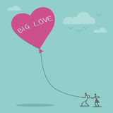 Big love idea and balloon heart Royalty Free Stock Images