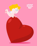 Big love. Little Cupid holding big heart. Valentine for holiday. Royalty Free Stock Photography