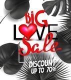 Big love sale announcement banner with tropical leaves and red heart and letters. Stock Image