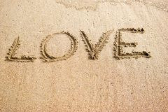 Big Love. Sand writings for message Royalty Free Stock Photography