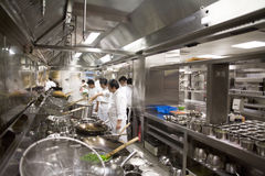 Big luxury Chinese restaurant kitchen Royalty Free Stock Images