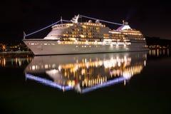 Big luxury cruise ship st night Stock Photo