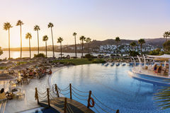 Big  luxury  pool with  palms,sunbeds and  sunset sky Stock Image