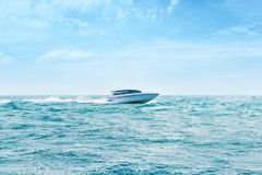 Big and luxury speedboat moving in the sea Royalty Free Stock Images