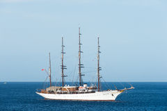 Big luxury Tall ship sailing next to Cozumel, Mexico at sunny day Royalty Free Stock Image