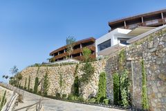Big luxury wooden hotel in Bodrum,Turkey stock photo
