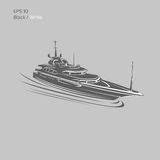 Big and luxury yacht vector illustration. Black and transparent private ship isolated vector. Exclusive vessel Royalty Free Stock Images