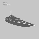 Big and luxury yacht vector illustration. Black and transparent private ship isolated vector. Exclusive vessel. Big and luxury yacht vector illustration. Black Stock Images