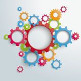 Big Machine Colored Gears PiAd. White gears with on the grey background. Eps 10 file Royalty Free Illustration