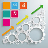 Big Machine Colored Rectangles Chart. White gears with colored rectangles on the grey background Stock Images