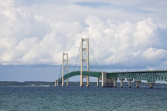 Big Mackinac Bridge. Big Mackinac suspension bridge with large clouds in the sky Stock Photos