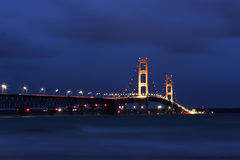 Big Mackinac Bridge Night Stock Photography