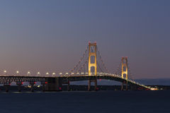 Big Mackinac Bridge Night Stock Image