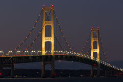 Big Mackinac Bridge Night Stock Images