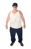 Big man. Obese man in tee shirt on white background Royalty Free Stock Images