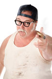 Big man. Fat man pointing with a cigar in tee shirt Stock Photo